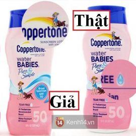 Cách phân biệt kem chống nắng Coppertone Water Babies Pure&Simple thật giả